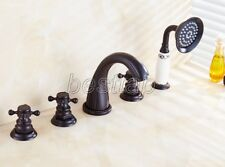 Oil Rubbed Brass Deck Mount Roman Tub Filler Faucet 5-Holes 3 handles Tap stf056