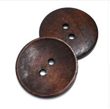 2 Botones de Madera Extra Grande Oscuro 2 agujero 45 mm Flatback Costura Artesanía Reino Unido Vendedor