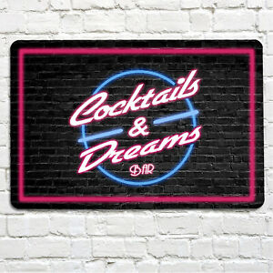 Cocktails and Dreams brick effect bar Bar Sign A4 metal plaque pubs and clubs