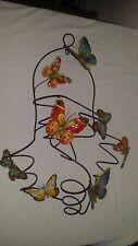 Iron Butterfly 5 Bottle Wine Rack Display Holder w/ Colorful Enamel Butterflies