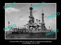 OLD 8x6 HISTORIC PHOTO OF US NAVY WWI USS NEW JERSEY IN CAMOUFLAGE 1918