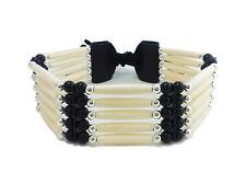 Handmade Native American Style 5 Row Buffalo Bone Hairpipe Beads Choker Necklace