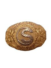 """Jewelers Bronze Initial """"S"""" Western Crumrine Belt Buckle Gold/Silver Plate over"""