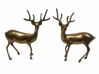 "Brass Bucks Reindeer Deer Set of 2 Mid Century Modern Figures 8 3/4"" Hunting Dec"