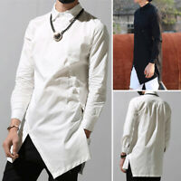 Men's Gothic Retro Baggy Shirt Long Sleeve Asymmetric Hem Tops Long Shirt Kaftan