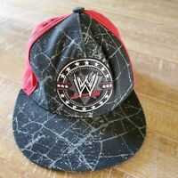 WWE Snapback Hat Black Flat-Bill Wrestling Grey Red Official EUC