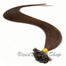 100 Pre Bond U Nail Tip Fusion Straight Human Hair Extensions Medium Dark Brown