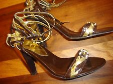 BABY PHAT-ANKLE STRAP Shoes SANDALS-METALLIC GOLD & BROWN  Sz  8.5B      140