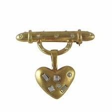 Girls Teens Pendant Necklace Gold Plated Crystals Bar Heart