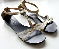 Vicini Tapeet Womens 38 Sandals Ankle Strap Zipper Ivory Gold Flat Strappy Shoe