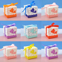 50 - 200  Heart-shaped Window Wedding Party Favor Gift Box Ribbon Candy Bags