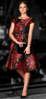 NEW! DAISY MAY BLACK, RED & GOLD FIT & FLARE TEA DRESS WITH OVER BODICE