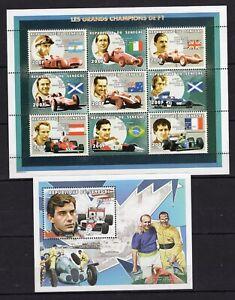 Fangio - Ascari - Ayrton Senna Prost Flags of Argentina, Italy, France MNH** CB