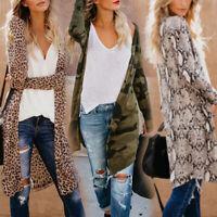 Women's Ladies Loose Long Sleeve Cardigan Leopard Print Kimono Tops Coat Jacket