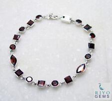 elegant Garnet 925 Solid Sterling Silver Red Bracelet genuine usually US