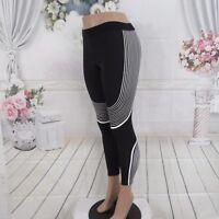 Athletic Black White Curves Compression Yoga Run Gym Leggings Pants Size XS