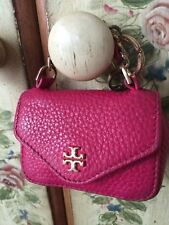👛 TORY Burch Coin Purse Key Chain Charm Pink Leather Mini Purse 💘