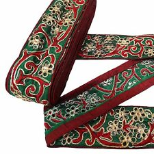 Green Sequin Fabric Trim Traditional Floral Lace Sewing Apparel Border Tape 1 Yd