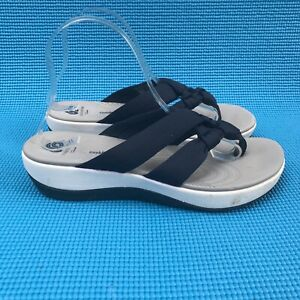 Clarks Cloudsteppers Arla Primros Blue White Thong Jersey Sandals Womens Size 9