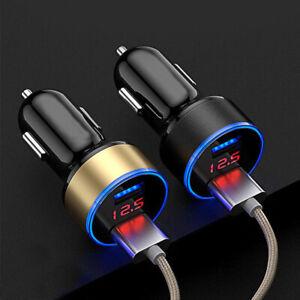 USB Dual Ports 3.1A Car Socket Charger Lighter Digital LED Voltmeter 24V/12V