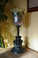 Antique Bohemian ART NOUVEAU 1910's Lamp with Iridescent Glass Shade