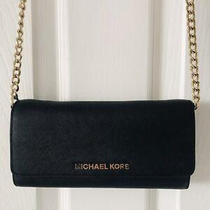 Michael Kors Wallet On Chain WOC Cross Body Black & Gold Bag