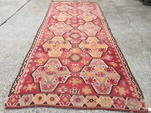 Vintage Turkish Kilim Kelim Rug 370x145 cm shabby chic wool, country home, boho
