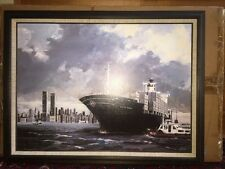 VTG Wall Art Mid Century Framed Print New York City Twin Towers Harbor Ship NIB