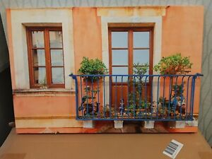 LED Blue Metal 3D Balcony Light Up Canvas Picture 60cm X 40cm