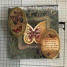 BIRTHDAY CARD, HANDMADE GOLD & SILVER EMBOSSED ALL ABOUT THE BUTTERFLIES