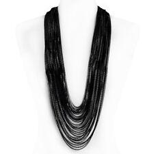 Layered Long Chain Fashion Necklace Arabella Rhodium Gun Plating Aluminum Multi