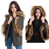 New Women Hooded Faux Fur Oversized Sleeves Parka Coat Warm Cosy Winter Jacket