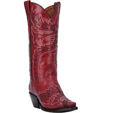 Dan Post Womens Sidewinder Western Cowboy Boots Leather Embroidery Snip Toe Red