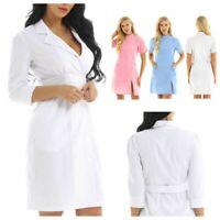 Womens Scrub Lab Coat Medical Nurse Doctor Uniform Dress Hospital Jacket Costume