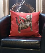 Red With Brown Cat Dancing Evans Lichfield Cushion Cover