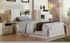 king single bed with led light and bookcase side gas lift gloss white NEW