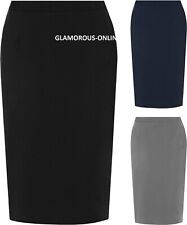Plus Ladies Womens Lined Black Slit Pencil Skirt Office Plain Work Formal Lined