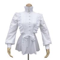 Renaissance Pirate Women Pleated White Top Cotton Shirt Victorian Vintage Blouse
