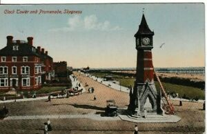 SKEGNESS, LINCOLNSHIRE -  CLOCK TOWER AND PROMENADE COLOUR  POSTCARD (1919)