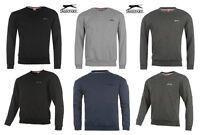 Slazenger Mens Sweatshirt Crew Neck Fleece Jumper Black Charcoal Navy Grey S-XXL