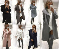 Women Italian Long Duster Jacket Ladies French Belted Trench Waterfall Coat 8-26