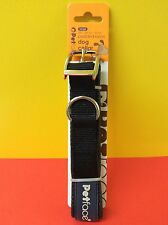 """NEW Large Petface Black Dog Collar 20""""-24"""" Suitable for Boxer Collie Retriever"""