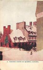 WINTER SCENE IN QUEBEC CANADA POSTCARD 1908
