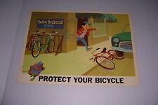 """1966 DISNEY BICYCLE SAFETY PROTECT YOUR BICYCLE 18""""X13"""" 102-B"""