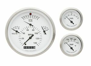 1957 chevy bel air classic instruments gauge cluster white face ch01wslf