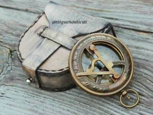 "3"" Handmade Brass Antique Finish Push Button Sundial Compass W/Leather Box Gift"