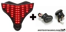 09-14 Yamaha R1 SEQUENTIAL LED Tail Light SMOKE + Flush Mount Turn Signals COMBO