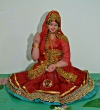 """Vintage Tall Indian Doll In Traditional Clothes Sari 1970s, 13.4"""""""