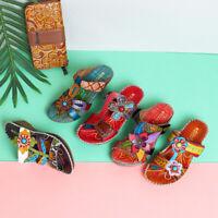 SOCOFY Women Bohemian Leather Adjustable Hook Loop Printing Forest Sandals UK