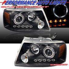 2004-2008 FORD F150 HALO RIM PROJECTOR HEADLIGHTS BLACK w/ LED PARKING LIGHTS